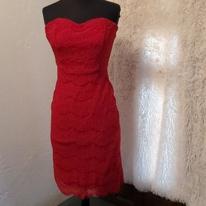 Strapless red lace dress
